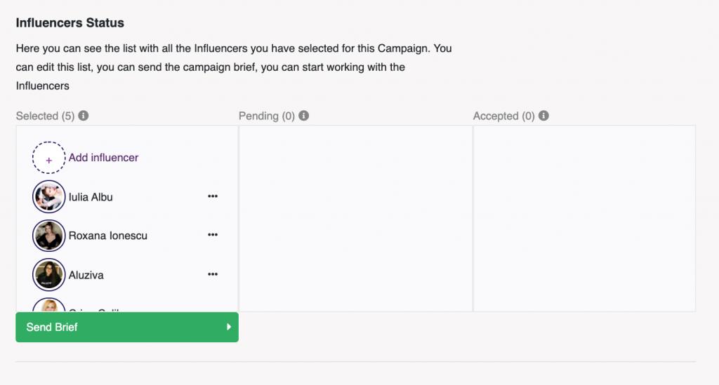 Send Brief in MOCAPP - Pașii unei campanii cu influenceri
